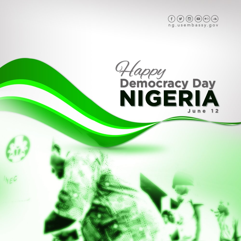 US Embassy, Abuja and Consulate General, Lagos will be closed on Wednesday, June 12, 2019 to commemorate the maiden Nigerian National #DemocracyDay. We celebrate this momentous occasion with all Nigerians. <br>http://pic.twitter.com/A3KlbzSqBq