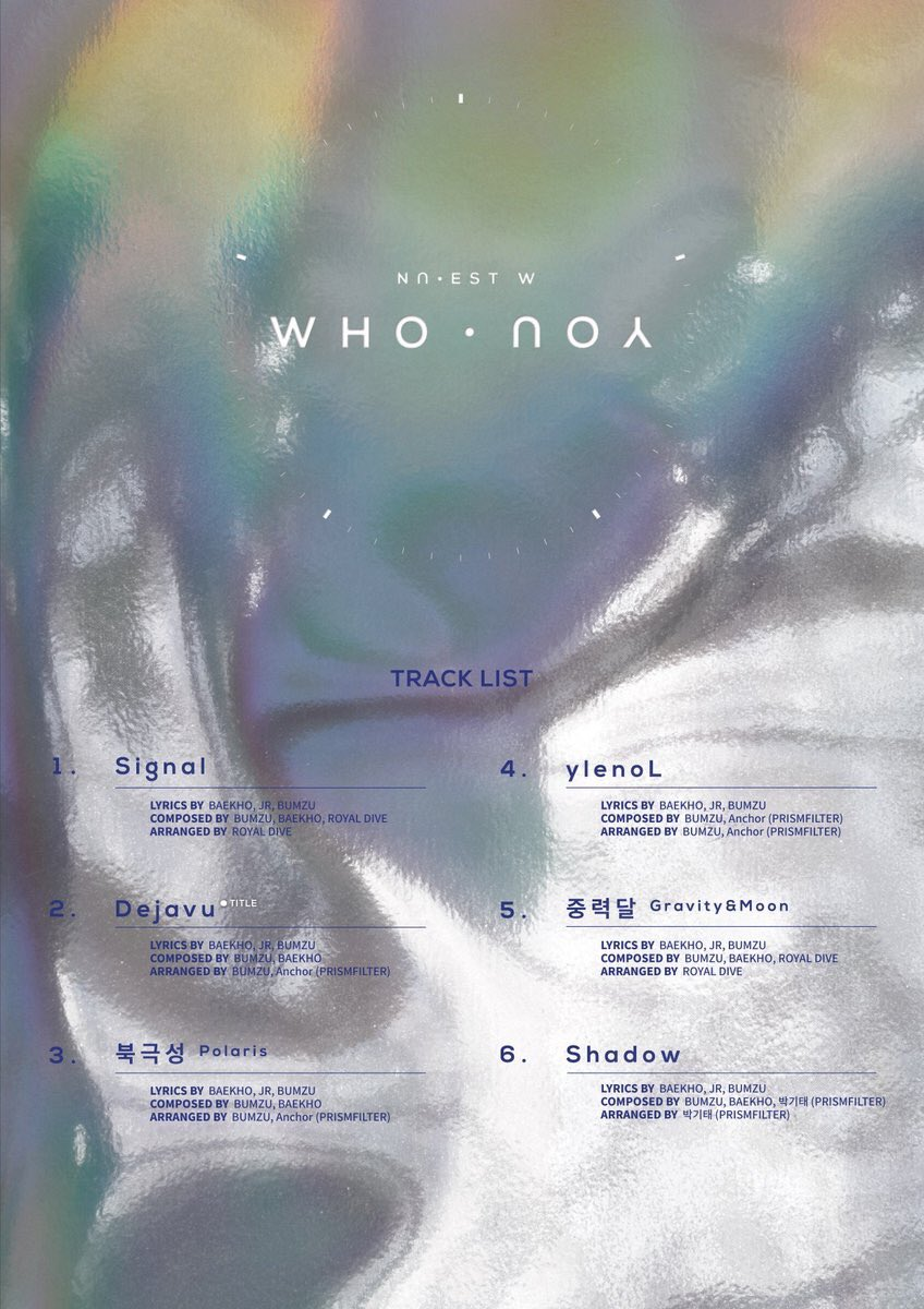 180612 NU'EST W NEW ALBUM 'WHO, YOU' TRACK LIST #NUEST_W #WHO_YOU #Dejavu #20180625_6PM https://t.co/HEQjiS3FaJ