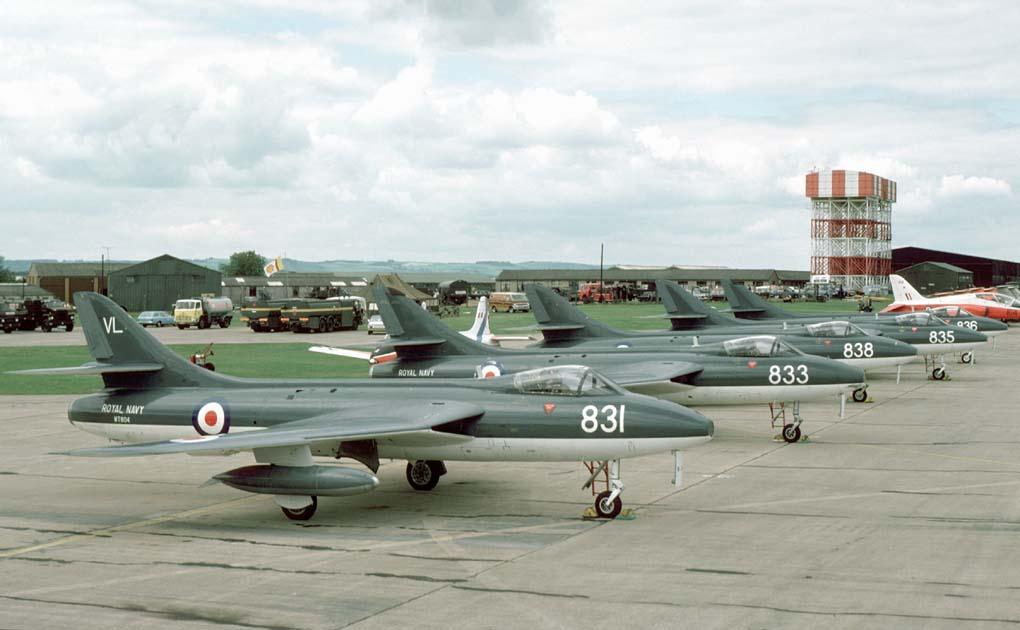 The Royal Navy Blue Herons display team Hawker Hunters at an IAT airshow at Greenham Common, late 1970s #RIAT #RoyalNavy #RN #Machloop #AirPower #Newbury #Aircraft #airshow #westberkshire #Greenham #jetfighter