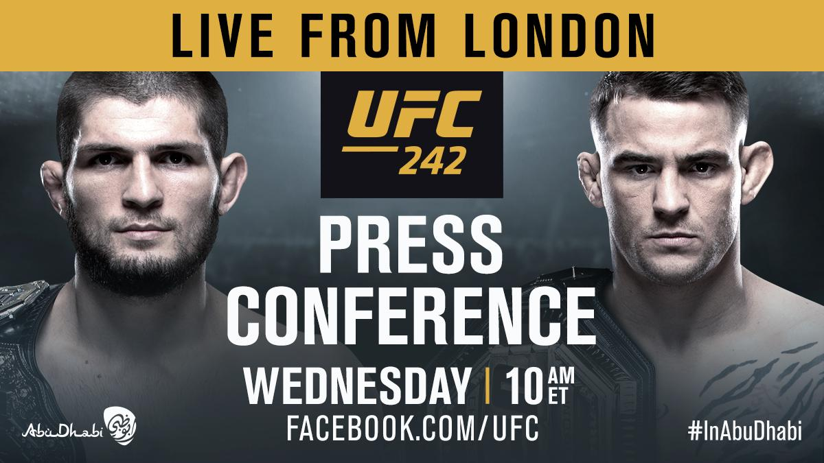 Live from London!  Watch the #UFC242 presser with @TeamKhabib & @DustinPoirier LIVE tomorrow on our Facebook!
