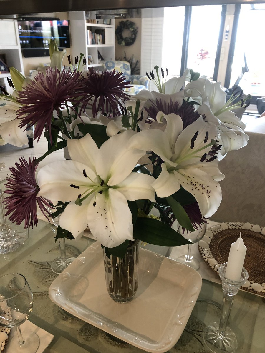 @R_CILR We have these wonderful flowers on our dining room table. The lilies smell fantastic.