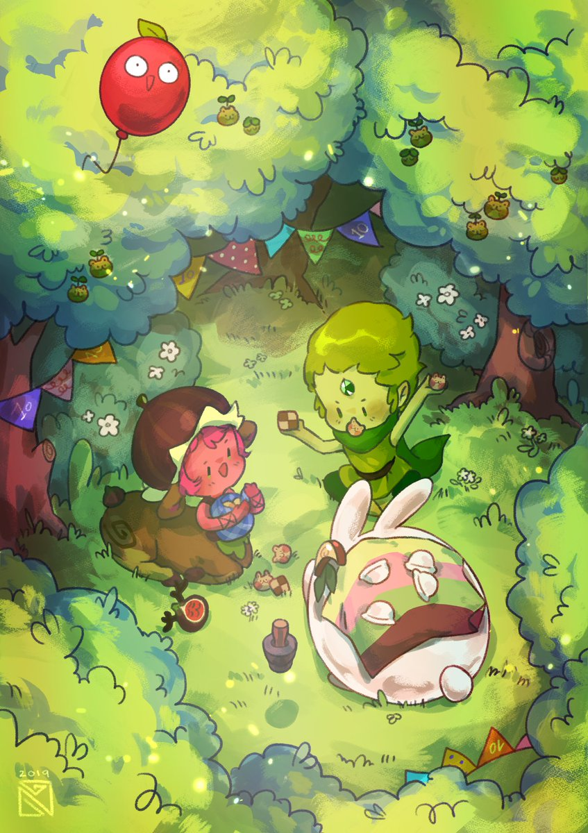 happy 10th birthday Cookie Run! thanks for being an important part of my life  can't wait to see what the future holds for you all!  here's my piece for the anniversary fanbook, btw! forest picnic is best picnic  #cookierun  #CRFanArtBook #GingerBrave10th <br>http://pic.twitter.com/DRJWZF0jeX