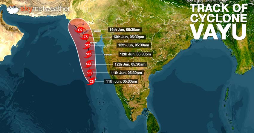 Let's be prepared as #CycloneVayu is likely to strike between Porbandar & Mahuva around Veraval and Diu region region as a Severe Cyclonic Storm by the late night of June 12 or early morning of June 13.