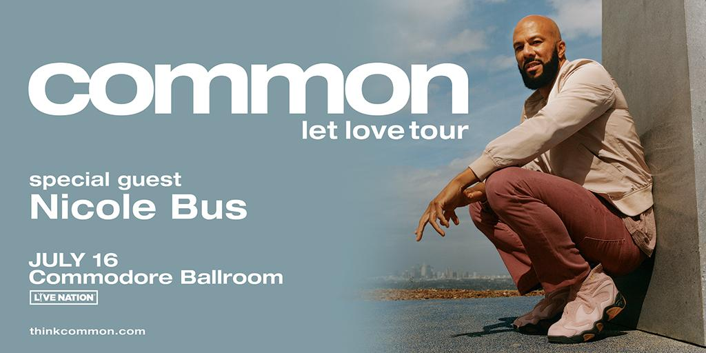 SUPPORT ADDED 🎶 Gospel groovin', island-vibin' R&B artist @Thenicolebus will open for @common on July 16 when Let Love Tour touches down at the @commodorevcr! Get your tickets now: http://bit.ly/2F5D51D