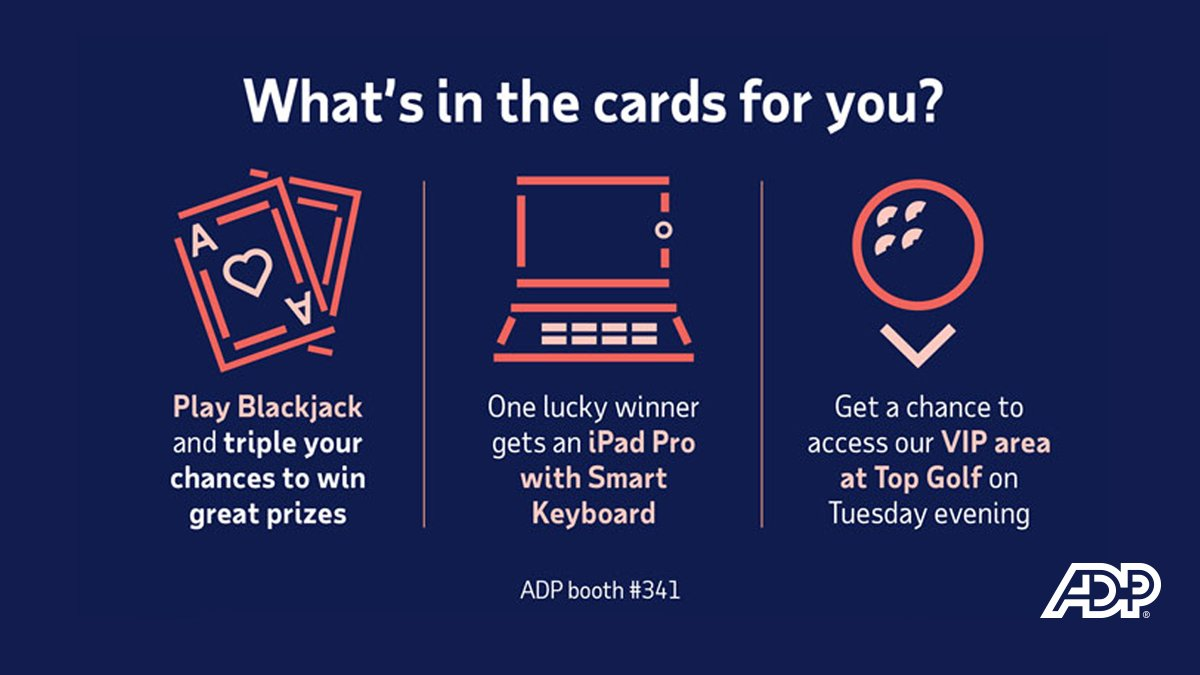 In Vegas for #AICPAENGAGE? Stop by the ADP booth #341 to check out our latest technology designed for #accountants, grab a donut, play some blackjack, and get a chance to win some cool prizes.