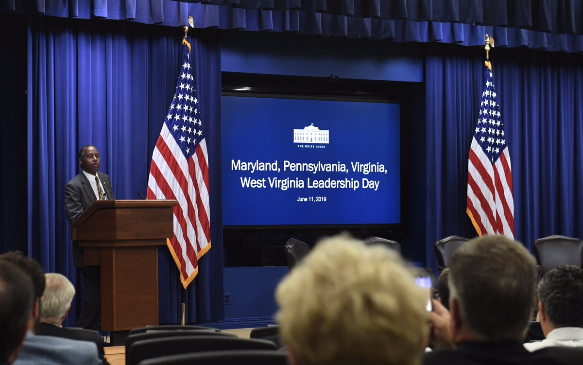 I enjoyed speaking to state leaders from MD, PA, VA, & WV at the @WhiteHouse about how @HUDgov is focused on increasing the supply of affordable housing in communities by incentivizing low-cost production and creating pathways to financial self-sufficiency.<br>http://pic.twitter.com/jZyyzB1OGS