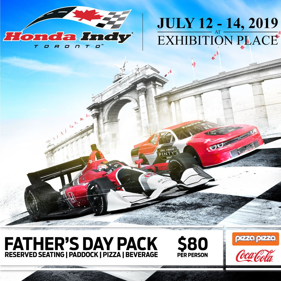 Make everlasting memories with Dad this summer! 2 Grandstand #indyTO seats 🎟️ 2 Paddock Passes 2 Slices of @PizzaPizzaLtd 🍕 2 @cocacola_ca drinks 1 Photo Opportunity with Dad 📸 Get the Fathers Day pack today: hondaindy.com/fathersday
