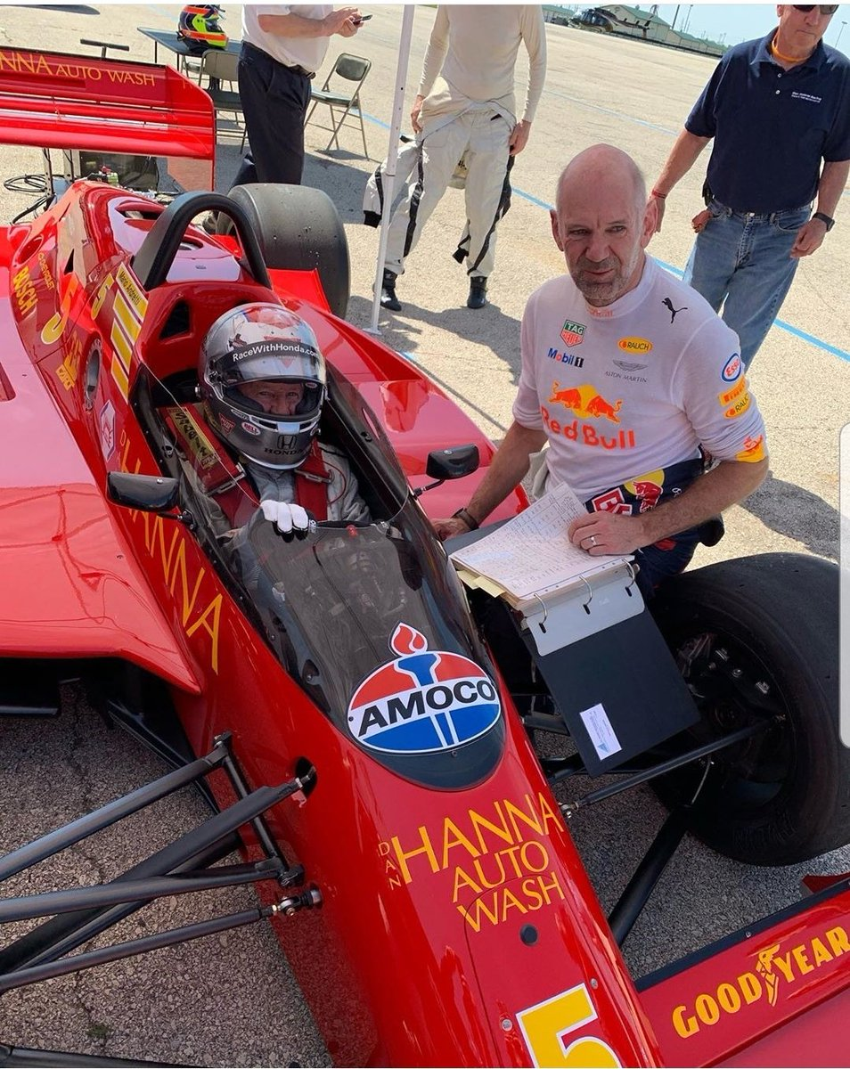 In Chicago today Adrian Newey and @MarioAndretti are reunited with the CART Lola (now owned by @ZBrownCEO) with which Mario won the 1987 Long Beach GP. Adrian was Mario's engineer for the part of that season before being snapped up by the Leyton House F1 team #SkyF1 @IndyCar @F1