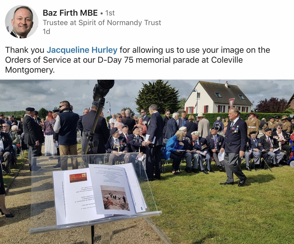 It is an honour that my painting was used in the Order of Service for the anniversary of D-Day memorial parade, Colleville-Montgomery in the Normandy region in northern France.   #Dday75 #WarPoppyCollection #remembrance #LestWeForget <br>http://pic.twitter.com/vcJffeCtFO
