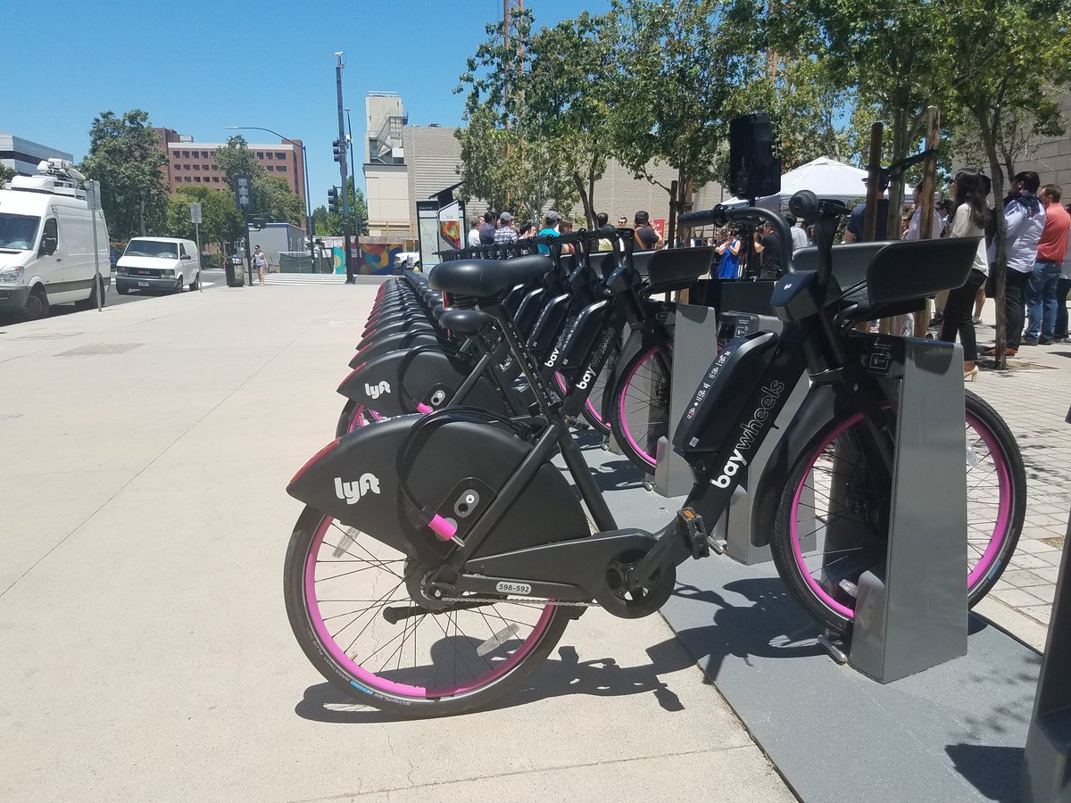 """City of San José Department of Transportation on Twitter: """"Today the  @CityofSanJose welcomed new Bay Wheels bike share from @lyft. A new fleet  of hybrid ebikes can be parked at a dock,"""