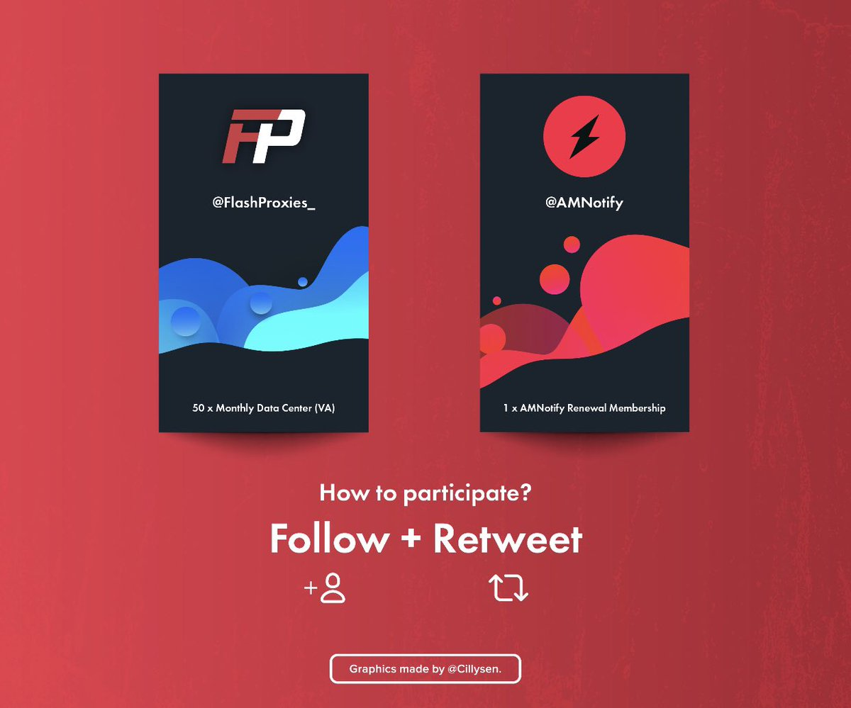 AMNOTIFY x FLASH PROXIES GIVEAWAY  Rules: Follow @AMNotify Follow @FlashProxies_ Retweet this tweet  Prizes: 1 renewal membership (region of your choice) 50 VA monthly proxies  Winners will be picked tomorrow. Good luck! 🤠