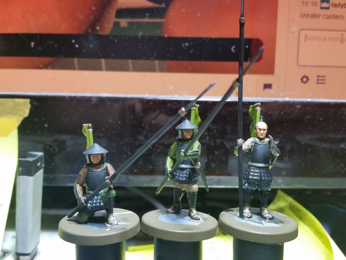 And I got 3 more Yari Ashigaru ready for basing today. These are from the Test of Honour plastic starter set originally produced by Warlord Games. #MiniaturePainting #WIP #Samurai #Ashigaru #FuedalJapan #SengokuJidai #TestofHonour #WarlordGames