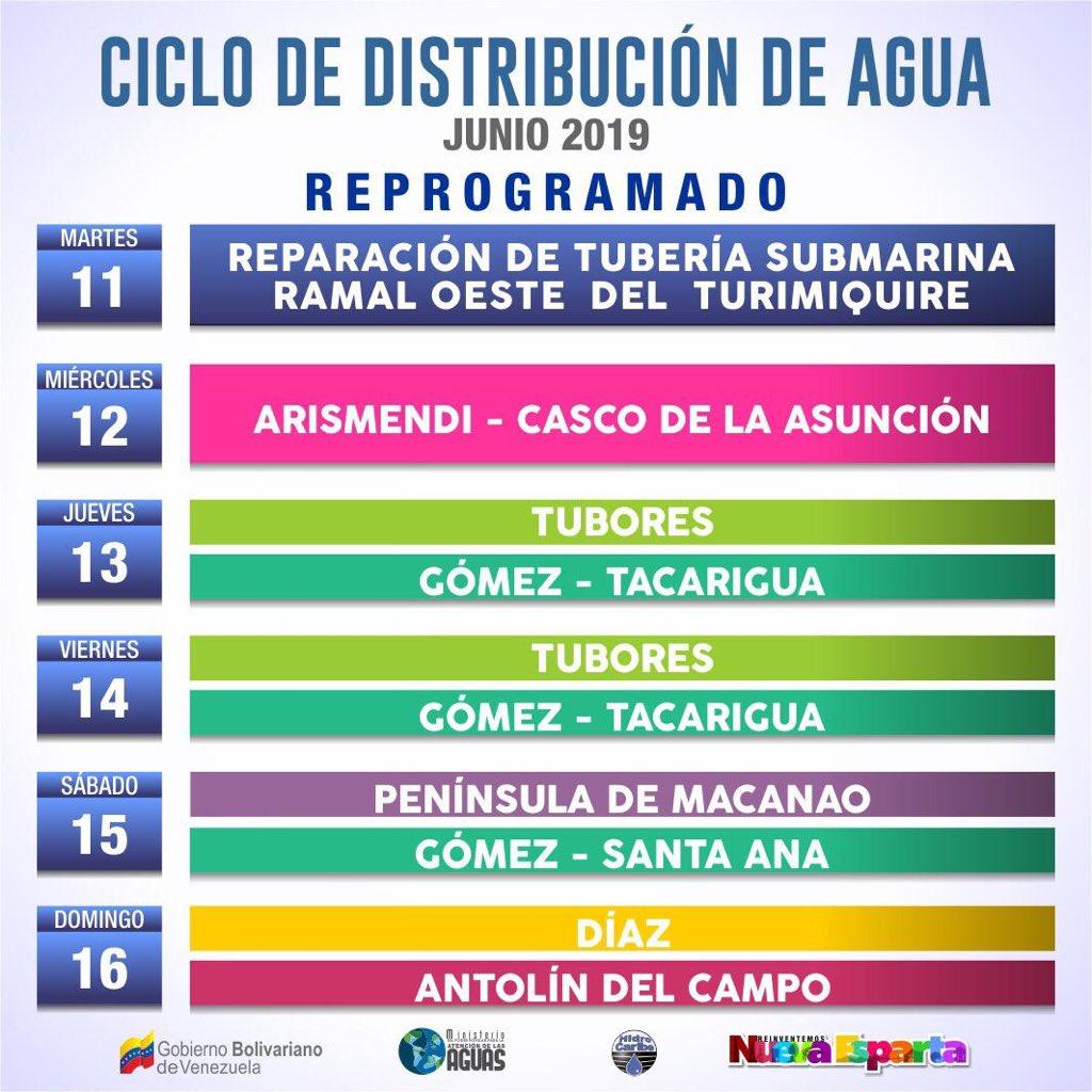 Querido pueblo de #NuevaEsparta les informo que con el propósito de mejorar el suministro de agua el @MPPAAguas inició una parada en Turimiquire por 48 horas para reparaciones en la tubería submarina, por lo cual hemos reprogramado el ciclo para los municipios Tubores y Díaz