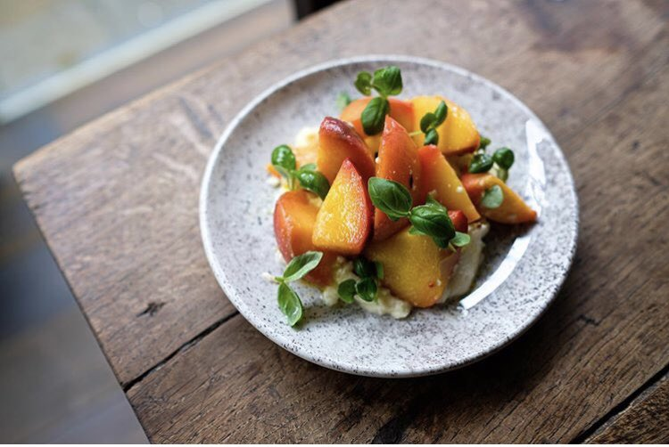 Roasted peaches with buffalo mozzarella & chilli. On our small plates menu all this week! #beckfordbistro #smallplates #summerproduce