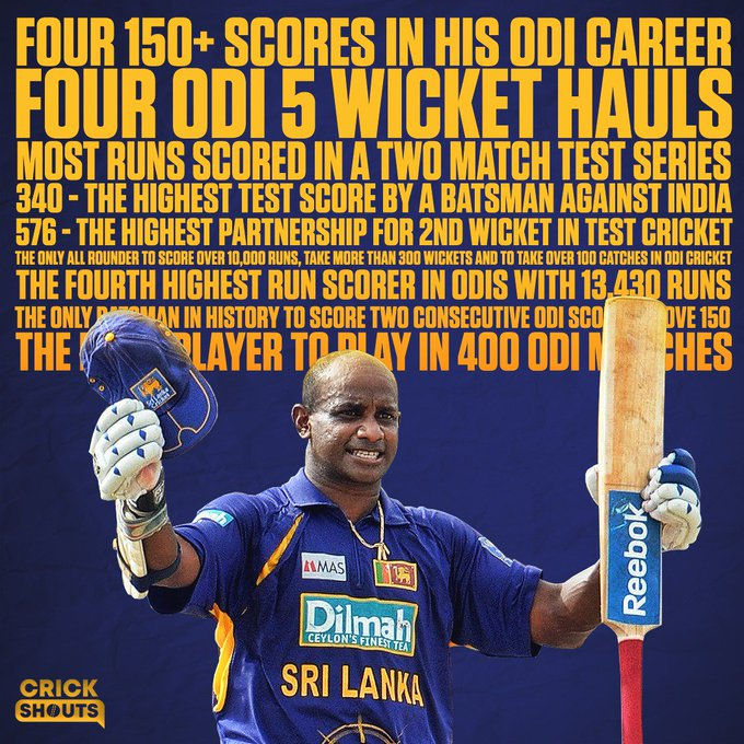 A record breaker in every sense of the word.  Happy birthday, Sanath Jayasuriya.