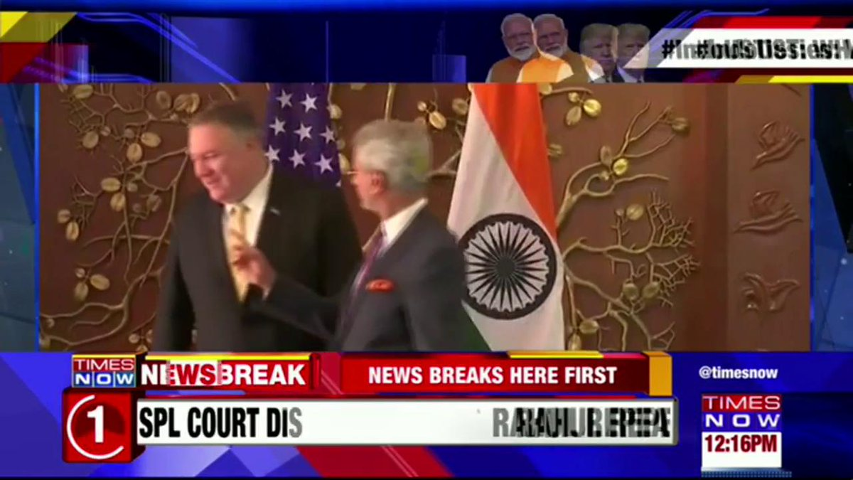 #Breaking 1st on TIMES NOW   VISUALS: US Secretary of State Mike Pompeo (SecPompeo) meets External Affairs Minister (EAM) S Jaishankar (DrSJaishankar).   #AtharKhan with details on what's on the agenda during the meet.   #IndoUSTies