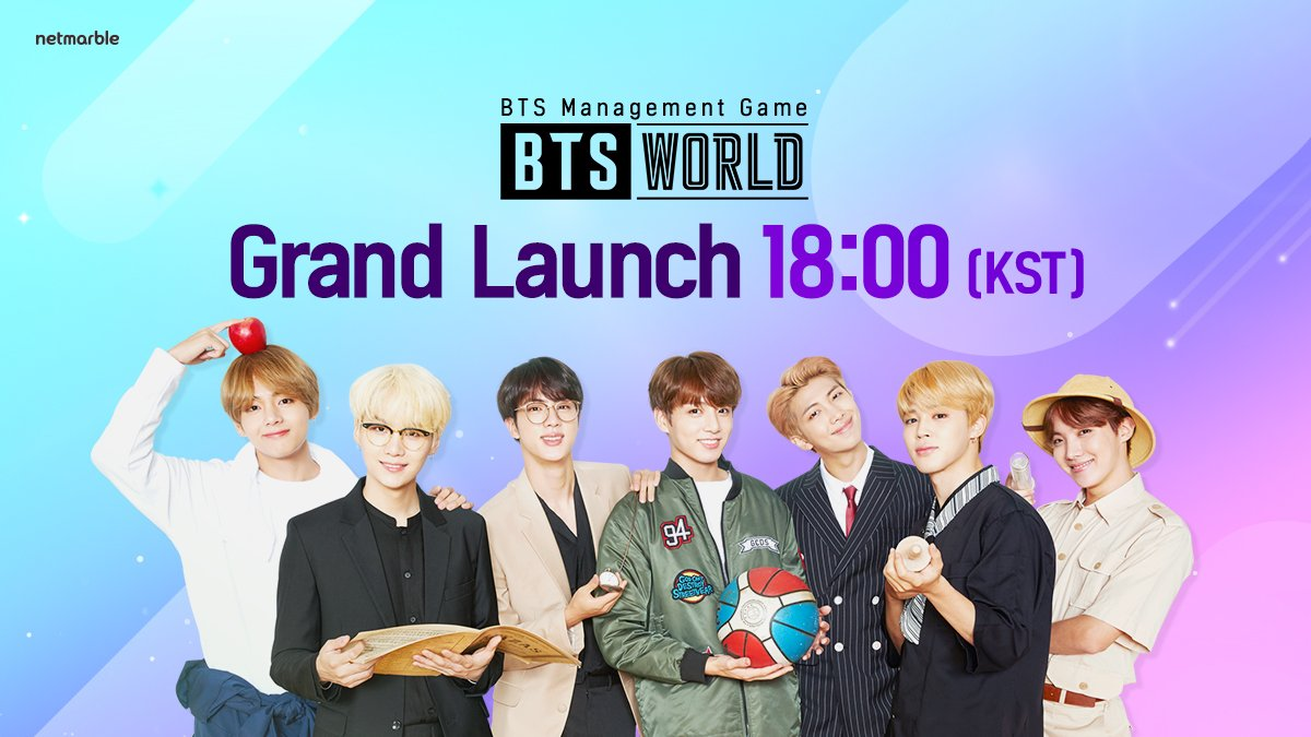 [Notice] Manager! You can pre-download the game now! Pre-download to jump right into BTS WORLD! ★ Official launch: 6/26 (Wed) 6 PM KST / 2 AM PDT ★ Pre-downloading begins: 6/26 (Wed) 4 PM KST / 12 AM PDT AppStore ▶bit.ly/btswpredownA Google Play ▶bit.ly/btswpredownG