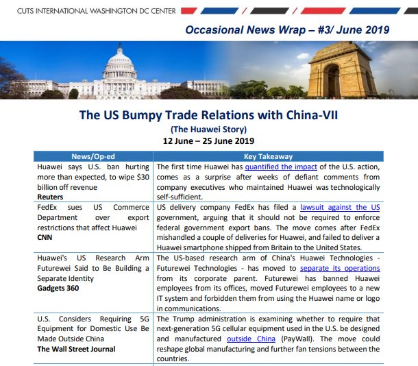Continue reading more about #UnitedStates Bumpy #Trade Relations with #China (The #Huawei Story) in the #News Wrap edition-3 volume-7. https://bit.ly/2XA6nA2  #US #China #Trump #Tradewars #Chinatrade #Tariffs #TradeDeal #Huawei #USChina #USChinaTradeWar
