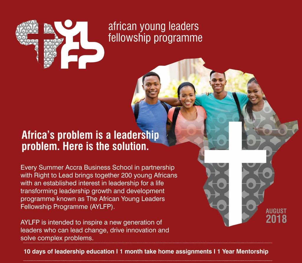 Hello world ,  Would you be interested in the ACCRA BUSINESS SCHOOL MINI MBA PROGRAM ON LEADERSHIP AND MANAGEMENT hosted by the AFRICAN YOUNG LEADERS FELLOWSHIP PROGRAM?   From July 22 - July 27 2019.   It's worth $3000 - buh there's good news as scholarships are available... <br>http://pic.twitter.com/AGkkG6PleI