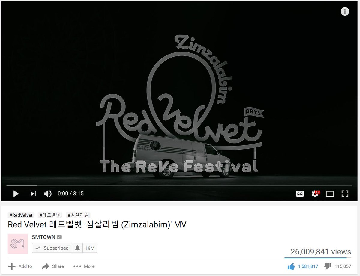 Red Velvet's Zimzalabim Music Video reached 26M views #RedVelvet #Zimzalabim #RVF #TheReVeFestivalDay1 #짐살라빔 @RVsmtown Link:  https:// youtu.be/YBnGBb1wg98     <br>http://pic.twitter.com/pqDxcwkpBh