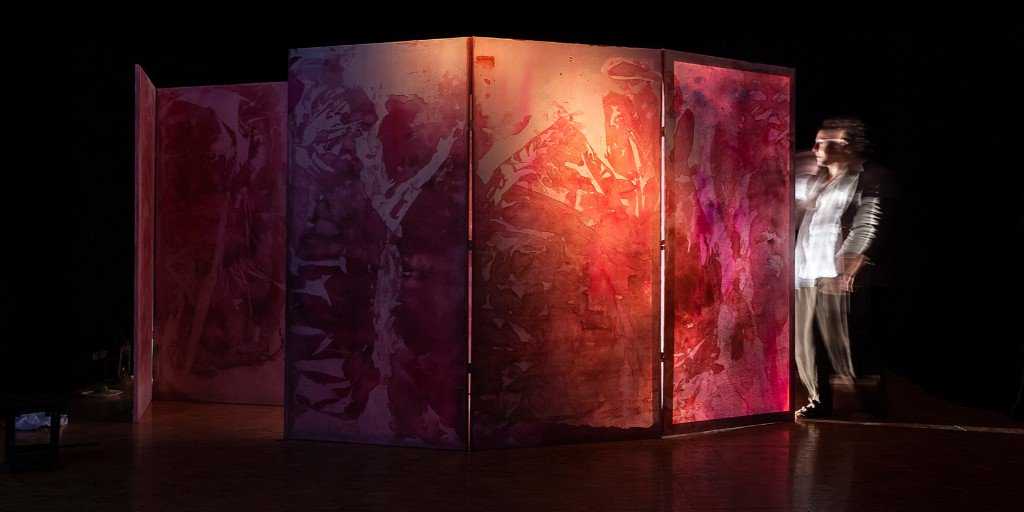 Our set is an artistic interpretation of our inner physicality.   Our blood, heart, brain, stomach & uterus.  Like cave paintings before us, it's an expression of ourselves available for all to see.  What do you think of it?  #camdenfringe #setdesign #AlphaWho #artinstallation
