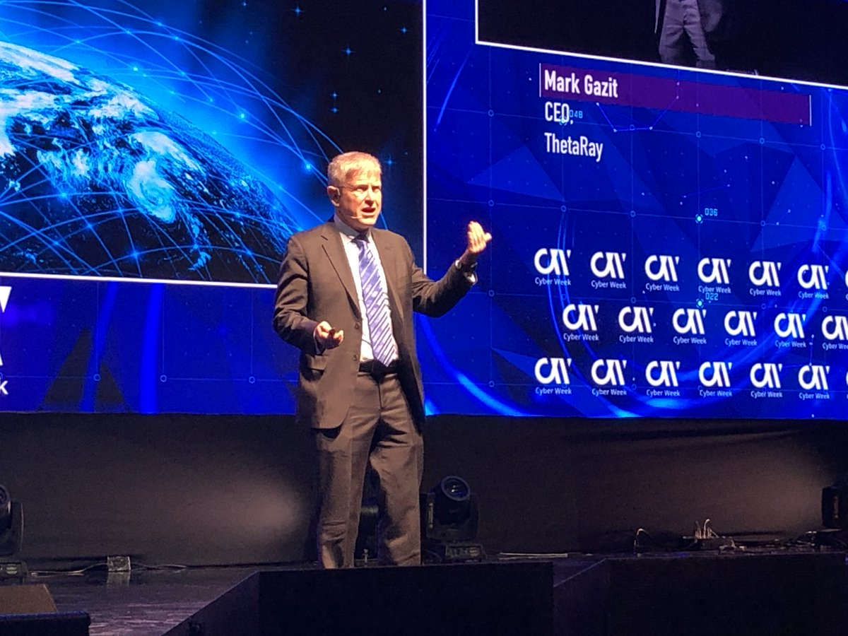 """""""Bad guys are already using AI and we as humans have an obligation to use it to safeguard the worldwide financial networks and in so doing help secure the world"""" @MarkGazit CEO of @ThetaRayTeam #cyberweek2019 #financialcybercrime #intuitiveAI"""
