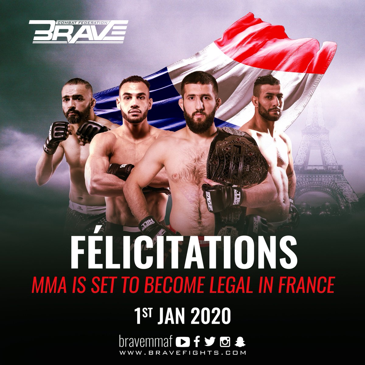 Awesome news! MMA is going to be legal in France starting January 1st, 2020! #MMA #France #FrenchMMA #Paris #Europe #BRAVECF