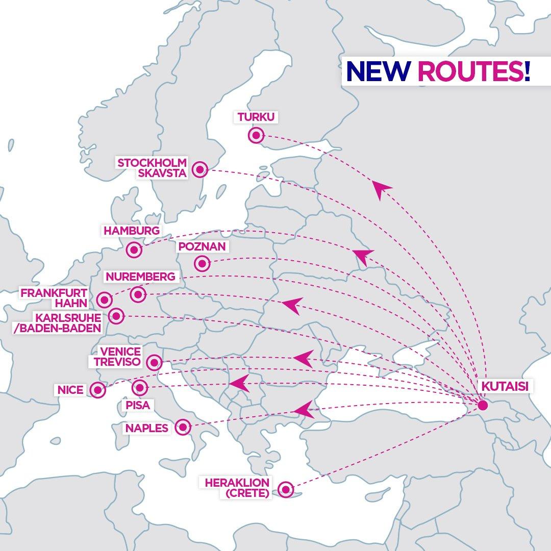 Wizz Air On Twitter Wizznews New Routes From Kutaisi Fly To Frankfurt Hahn Hamburg Heraklion Karlsruhe Baden Baden Naples Nice Nuremberg Pisa Poznan Stockholm Turku And Venice From September 2019
