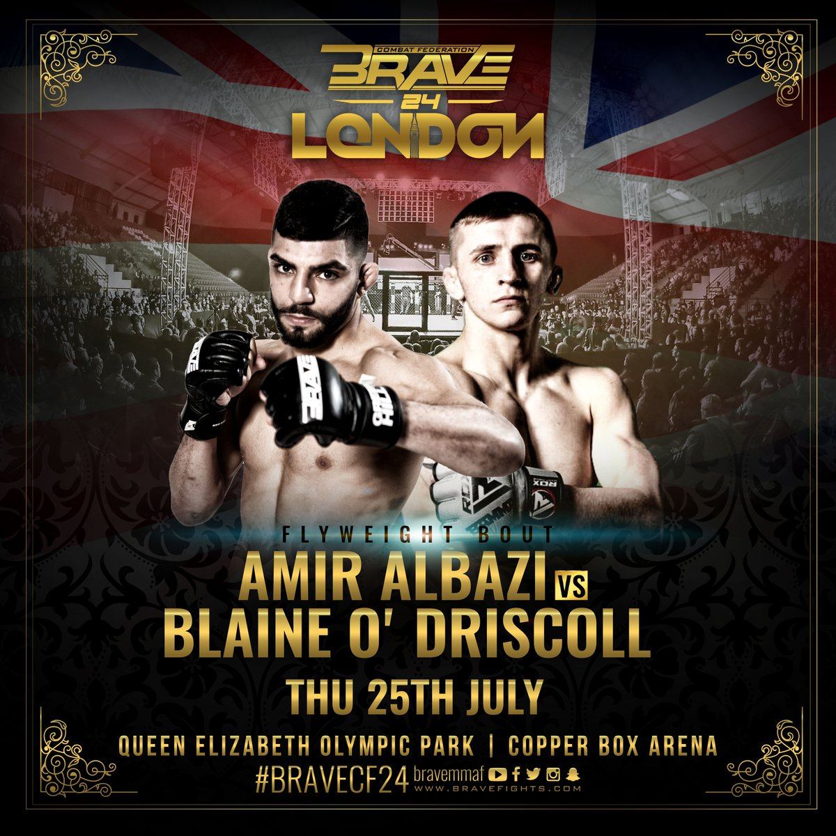 . @AmirAlbazi returns for his second appearance inside the BRAVE Arena to face Ireland's @BlaineSbg at BRAVE 24: London. #BRAVECF24 #Prince #MMA #London #Ireland