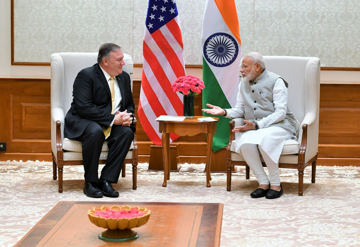 U.S. Secretary of State Michael R. Pompeo called on Prime Minister @narendramodi this morning.   Secretary Pompeo conveyed greetings of @POTUS @realDonaldTrump to the Prime Minister and congratulated the Prime Minister on his electoral victory. @SecPompeo<br>http://pic.twitter.com/9DWk60A2d7