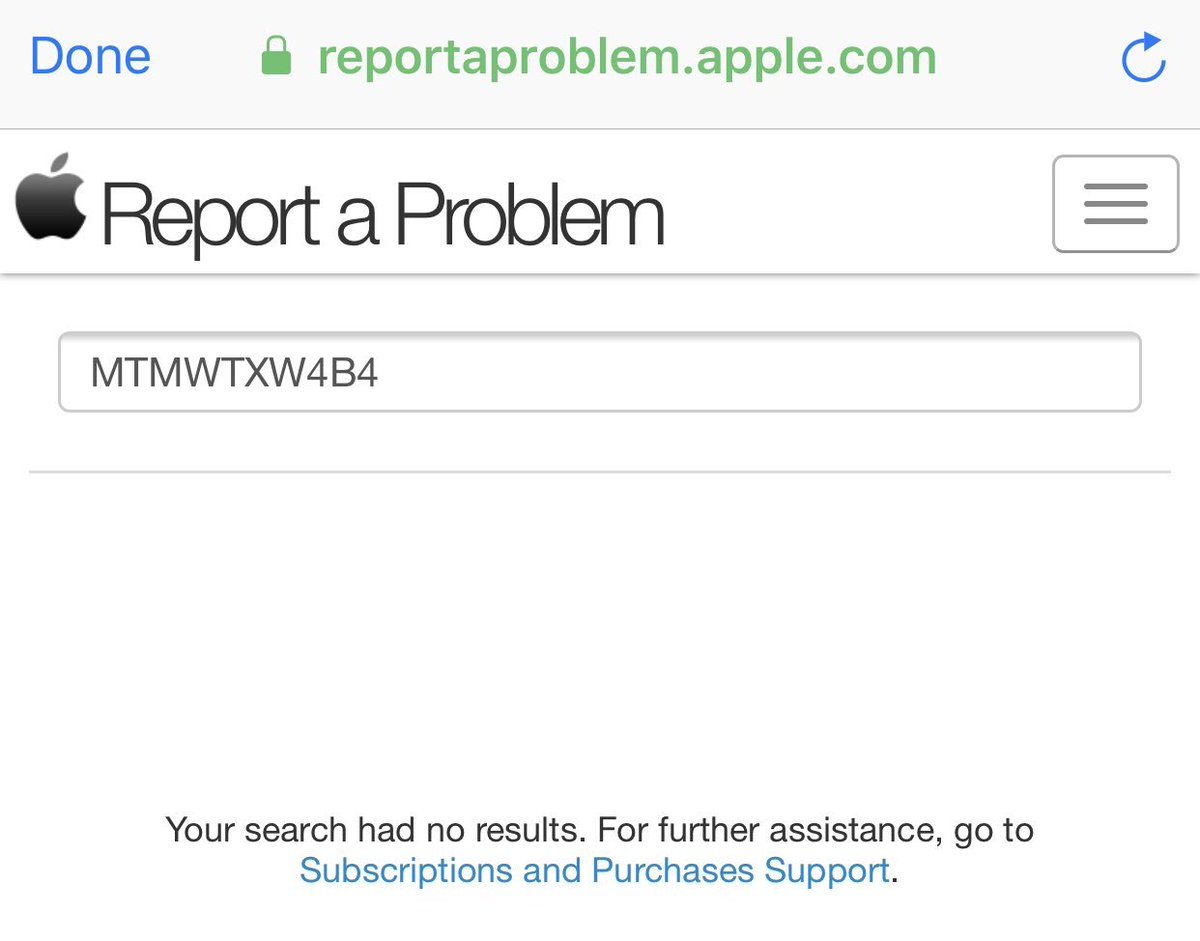 This is what I get when trying to 'Report a problem' from Apple's email invoice @AppleSupport @YouTube.