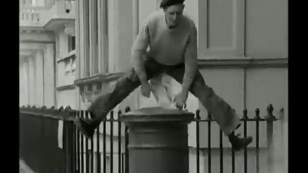 OnThisDay 1971: The art of 'woggle-hopping' was ably demonstrated by sprightly septuagenarian, 'Jumping' George Corner.