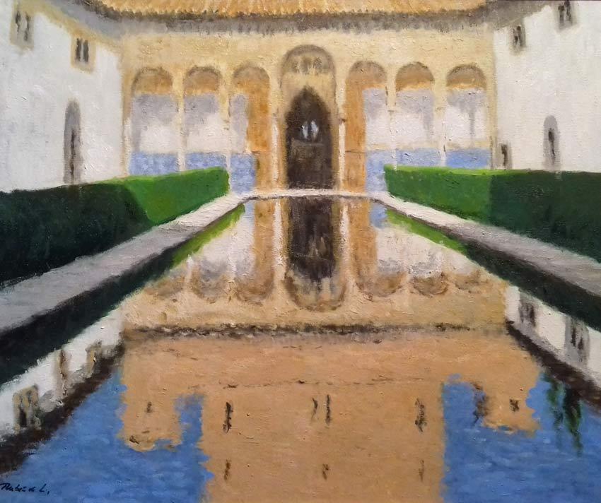 Cuadro al oleo del Patio de los Arrayanes en el conjunto de la Alhambra de Granada. Oleo sobre lienzo.  Un cuadro que pinté hace un tiempo del reflejo que muestra parte del palacio oculto en la composición. Más detalles:  https://www.rubendeluis.com/paisajes-y-marinas-al-oleo-andalucia/cuadro-al-oleo-del-patio-de-los-arrayanes/… #Granada #arte #cuadros
