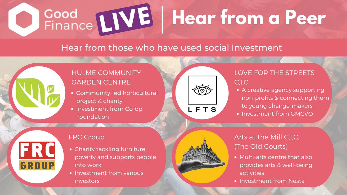 Based around #Manchester & considering social investment? Join us this Thursday for #GoodFinanceLive. Meet social investors & hear from @LFTSmcr @theoldcourts @FRCGrp_BulkyBob @HulmeCgardenC   Free! Sign up now ➡️ http://bit.ly/2YKH3F2 #SocInv #SocEnt #Charity