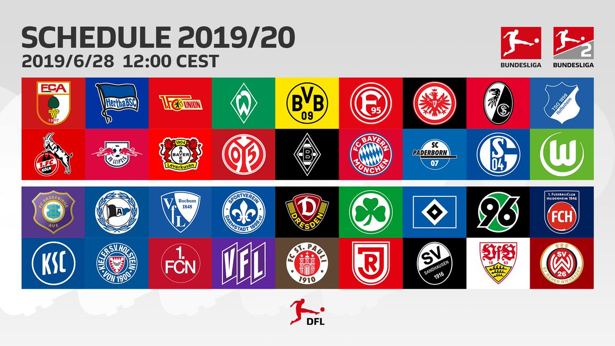 ⚽️🗓️⏰  The fixtures of the #Bundesliga and Bundesliga 2 for next season will be published this Friday at 12 noon.