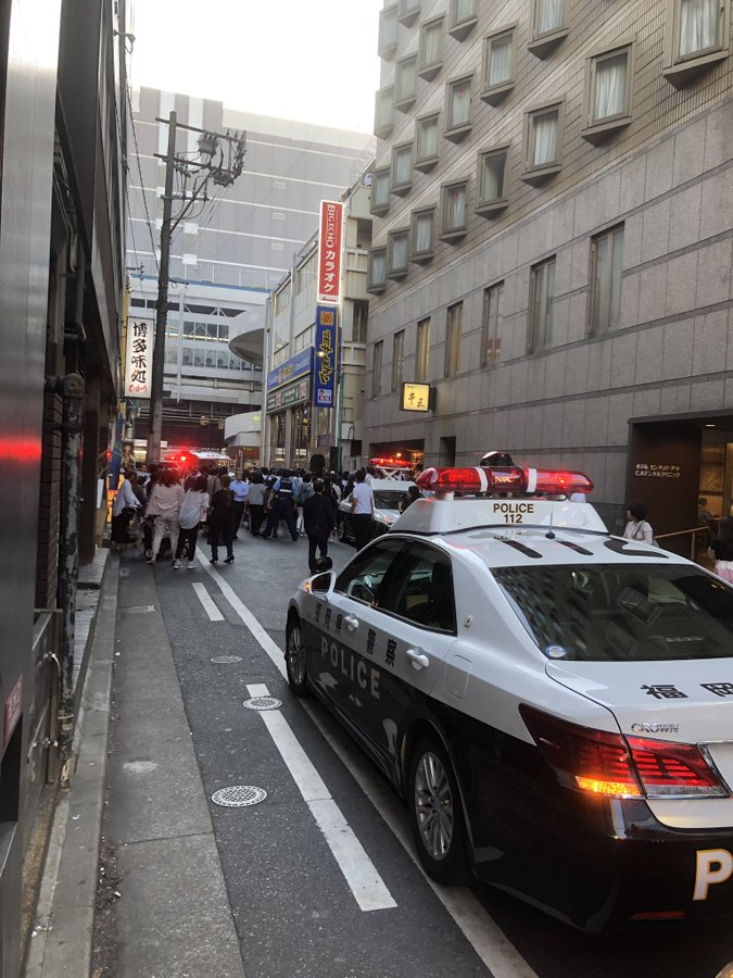 博多駅付近で人が刺された殺人未遂事件現場の画像