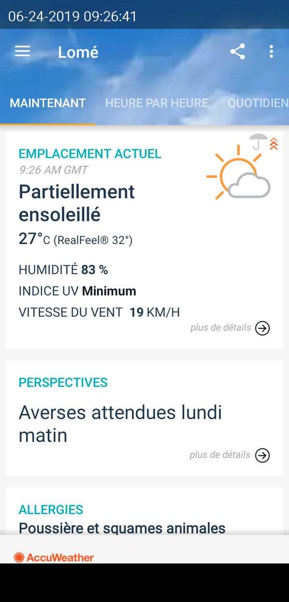 #Météo #Lomé Lundi 24 juin 2019.