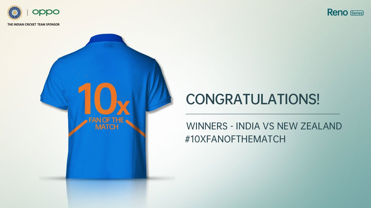 We loved your 10x cheers for Team India. Congratulations @MehtaKhilan, @ImYokEsH, Daman Makhija, Akshay AK and Mehul Gupta. Your #10xFanOfTheMatch celebration moments for #INDvNZ are well-deserving of the official Team India jerseys! #OPPOReno #CWC19
