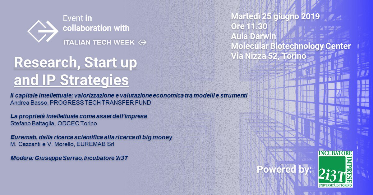 Start Up dell'@ItalianTechWeek  a @unito Research, Startup and  IP Strategies Focus Incontra gli esperti della #proprietaintellettuale  👩‍🔬👨‍🔬  25 giugno ore 11,30 Via Nizza 52 http://www.eventbrite.it/e/biglietti-research-start-up-and-ip-strategies-62278031268 … @unitoinnova  #ITW #ItalianTechWeek #techshareday #brevetti #startup #innovazione