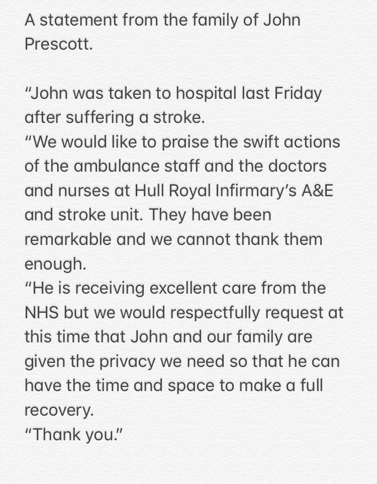 A statement from the family of John Prescott.