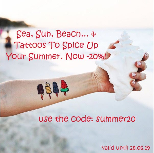 Summertime! Use the code 'summer20' and get 20% off your order! http://ow.ly/IDxa50uIPMm #tattooforaweek #tattoostickers #promo #promocode #discount #discountcode #summer #summersales #mushtave #festivalseason #trend #faketattoos #webshop
