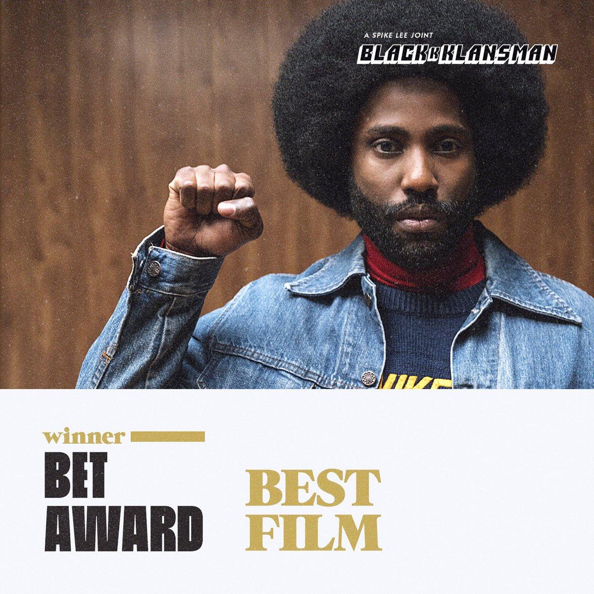 #BlacKkKlansman wins Best Film at the #BETAwards! 👊🏿👊🏿