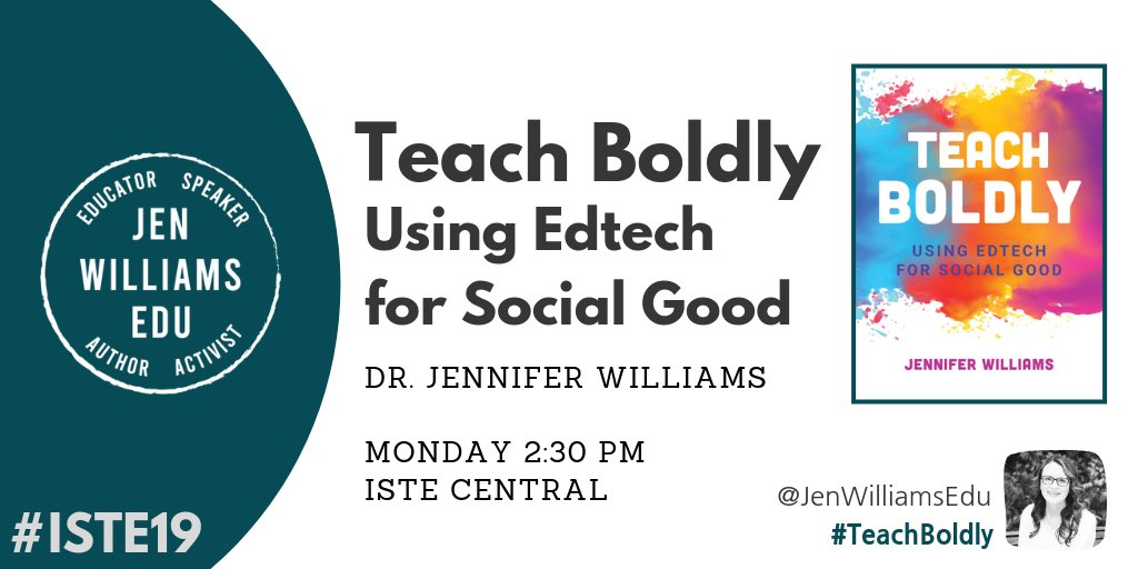 Countdown to #TeachBoldly session! Hope to see you at 2:30pm! #ISTE19 @iste