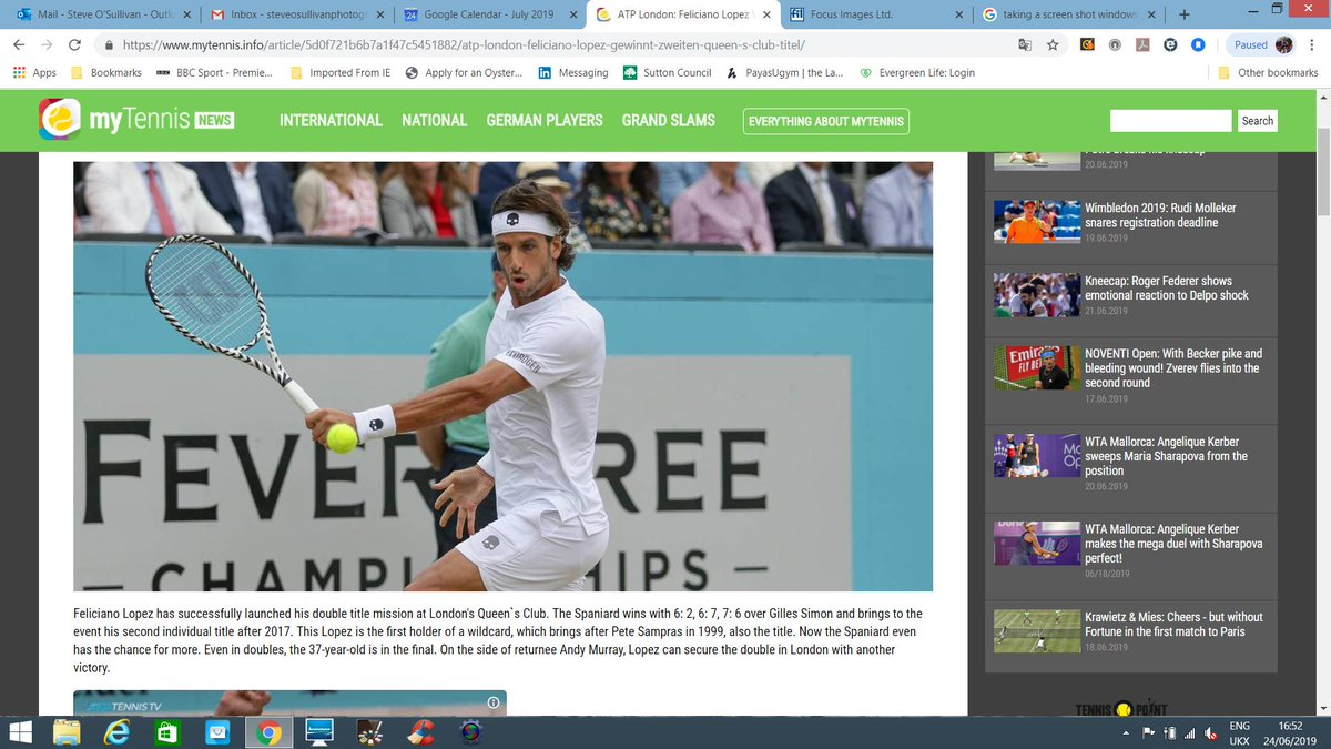 Very pleased to see three of my images from the @QueensTennis #FeverTreeChampionships 2019 last week being used in @lequipe online, @postimees online and #myTennis  Shooting for @FocusImagesLtd<br>http://pic.twitter.com/pWySmVqnMJ