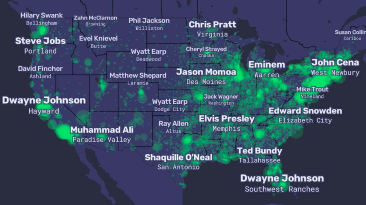 Check out this map of America's most famous – and infamous – celebrities.  More than just a map of names, it's a window into America's soul: http://bit.ly/2WZDrwQ