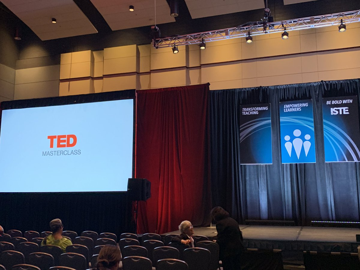 TED Masterclass 👉 10 minutes! Head to Terrace Ballroom 1, Level 4 by Posters to hear inspiring, high-energy talks by educators from the @TEDTalks Masterclass, a special course to help educators share their stories and amplify their voices. http://bit.ly/2Llc2n9 @TED_ED #ISTE19