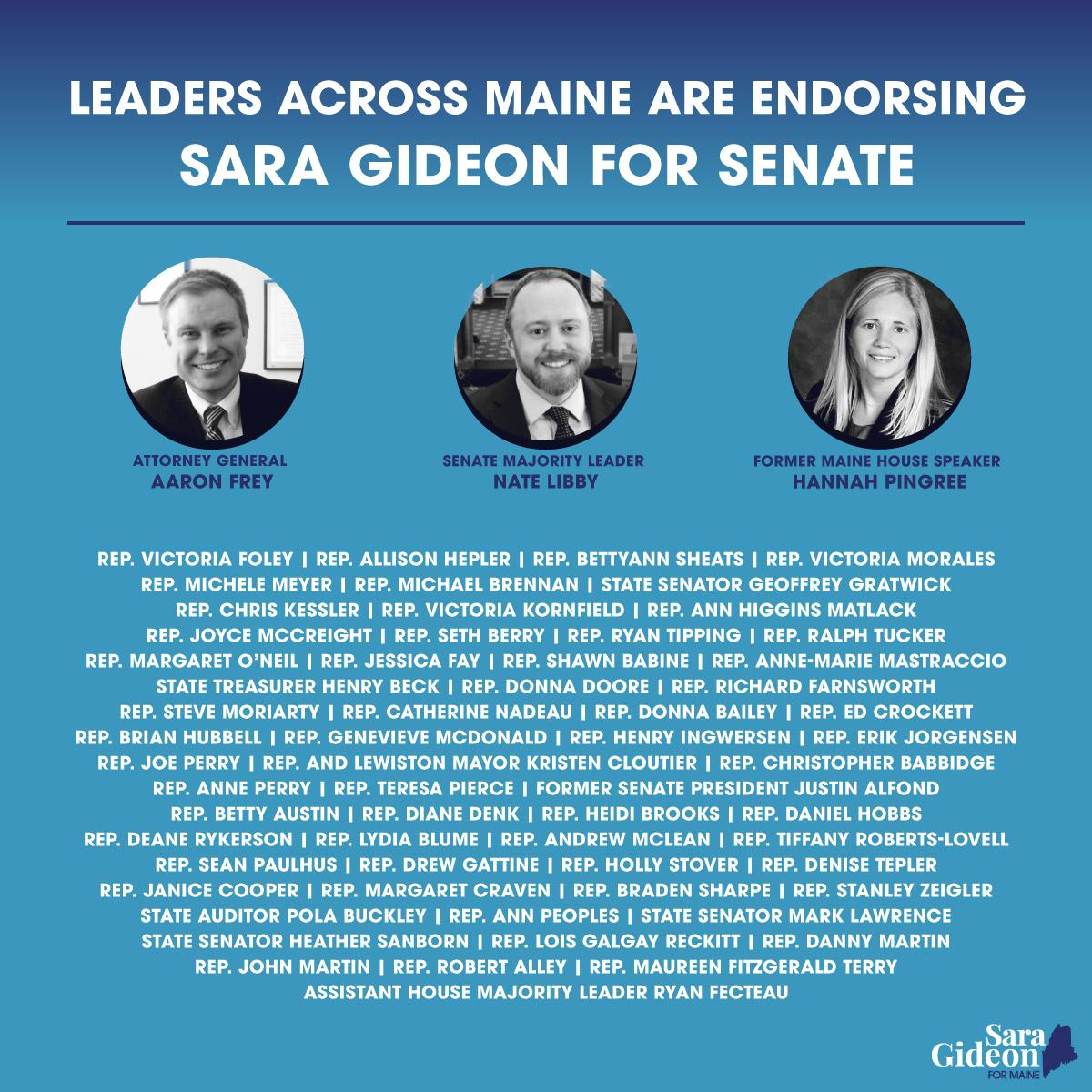 I'm running for #MESen to defeat Susan Collins & put Mainers first. That starts with YOUR support. I'm proud to have earned the endorsement of ME Attorney General Aaron Frey, ME Senate Majority Leader @Nate_Libby, former ME House Speaker @PingreeHannah & so many more. #MEpolitics<br>http://pic.twitter.com/nY8yfn1FnM