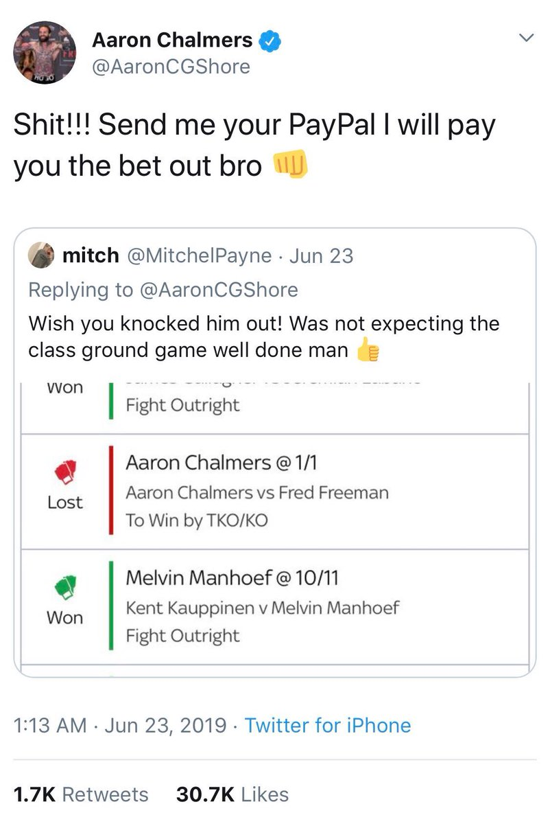 👊 One lad had a massive MMA acca for the weekend but unfortunately he was let down by one selection as Aaron Chalmers won by submission. Hes only gone and paid out the bet himself!