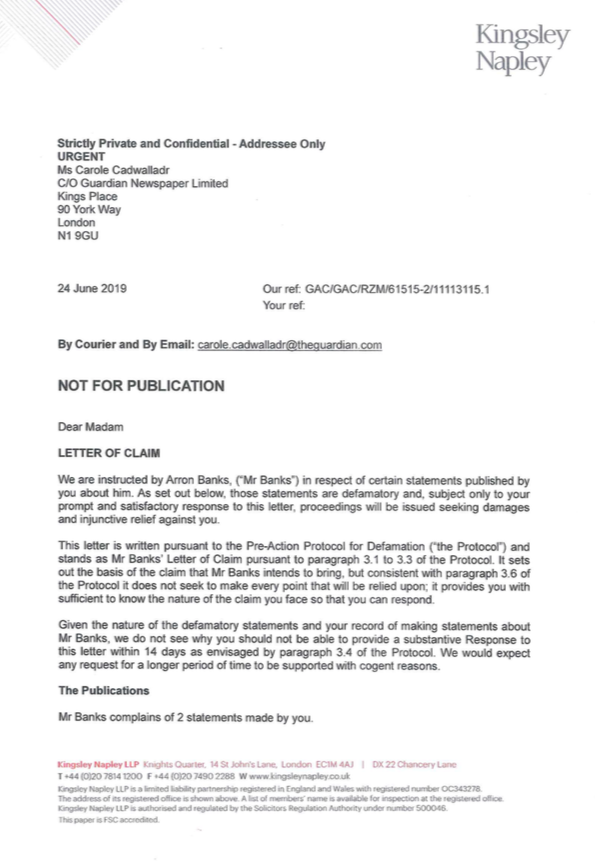 So, heres the actual legal letter Arron Banks sent me this morning. Ill translate for those not following closely: Russian-connected businessman under investigation by National Crime Agency threatens journalist who helped expose him. молодец, товарищ! 🇷🇺🇷🇺🇷🇺