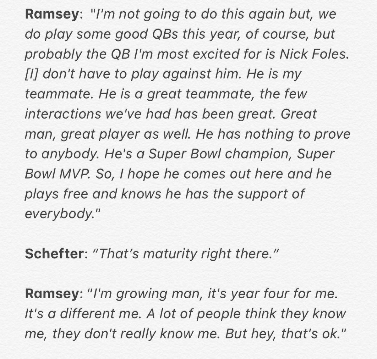 Last August, Jalen Ramsey did an interview with @GQMagazine and trashed a number of NFL QBs.   When asked on the @AdamSchefter podcast to breakdown QBs he'll face this year, Ramsey had this mature answer: